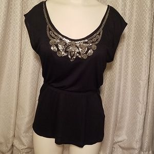Black blouse with jeweled details